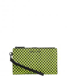 Black/Neon Checkerboard Wristlet