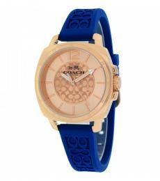 Coach Navy Blue Logo-Embossed Watch