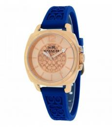Coach Navy Blue Logo-Embossed Watch