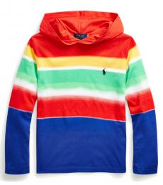 Ralph Lauren Boys Spectra Stripe Hooded T-Shirt