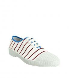 Prada White Red Striped Sneakers