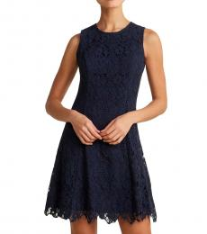 Vince Camuto Navy Blue Lace Fit & Flare Dress
