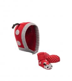 Stella McCartney Baby Girls Red Flopsy Hat & Booties Set