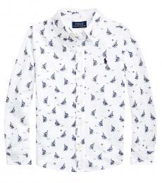 Ralph Lauren Little Boys White Sailboat-Print Mesh Shirt