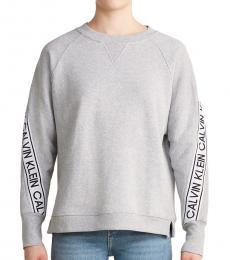 Calvin Klein Grey Oversized Logo Tape Sweatshirt