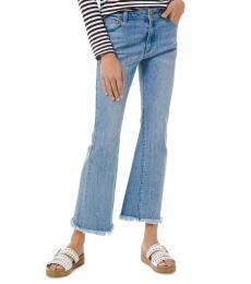 Michael Kors Denim Frayed-Hem Flare-Leg Jeans