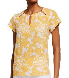 Michael Kors Yellow Floral-Print Logo Top