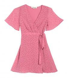 Diane Von Furstenberg Pink Kathy Rose Dot Wrap Dress