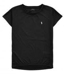 Ralph Lauren Girls Black Interlock Crewneck T-Shirt