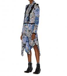Coach Black/Blue Kaffe Fassett Print Pleated Dress