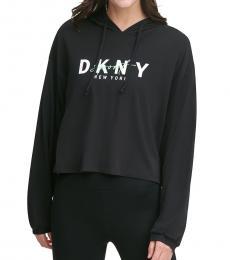 DKNY Black-Sport Script-Logo Hoodie T-Shirt