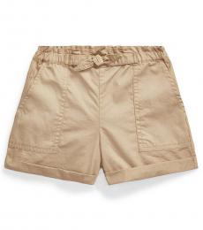 Ralph Lauren Little Girls Classic Khaki Twill Camp Shorts