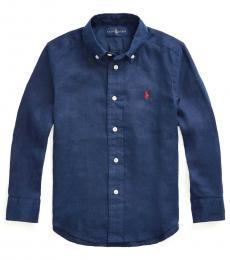 Ralph Lauren Little Boys Newport Navy Linen Shirt