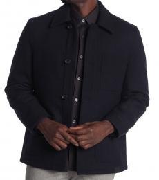 Michael Kors Navy Blue Melton Front Utility Jacket