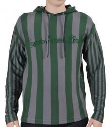 Emporio Armani Green Grey Striped Hoodie
