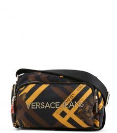 Versace Jeans Black Printed Medium Crossbody