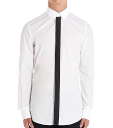 Dolce & Gabbana White Solid Piping Shirt