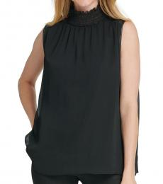 Black Sleeveless Ruffle-Neck Top