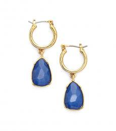 Gold-Blue Stone Drop Hoop Earrings