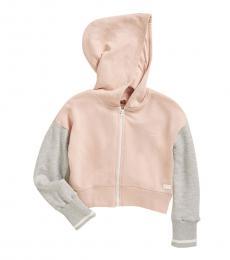 Girls Pink Color Block Hoodie