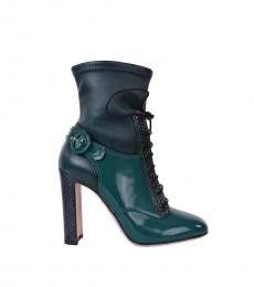 Green Leather Ankle Boots
