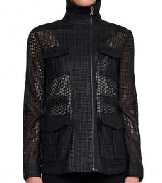 BCBGMaxazria Black Faux Leather Open Back Jacket