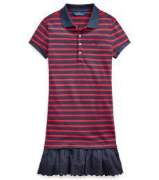 Ralph Lauren Girls Red/Navy Eyelet Stretch Mesh Polo Dress