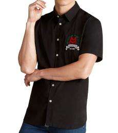 Black Embroidered Crest Woven Shirt