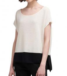 White Colorblock Knit Pullover