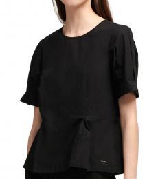 Black Pleated Sleeves Peplum Top