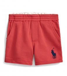Baby Boys Red Big Pony Shorts