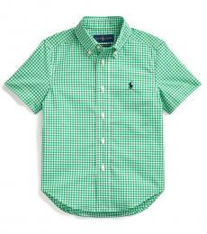 Ralph Lauren Little Boys Green Gingham Shirt