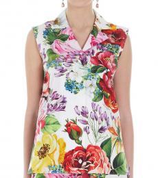 Dolce & Gabbana Multi color Floral Poplin Top
