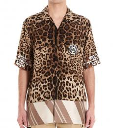 Dolce & Gabbana Brown Logo Patch Shirt