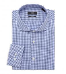 Hugo Boss Blue Sharp-Fit Check Dress Shirt