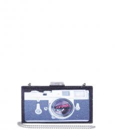 Betsey Johnson Black Blue Light Camera Clutch