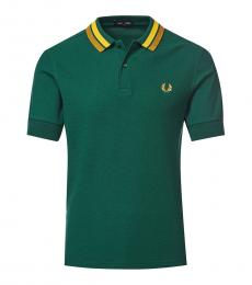 Fred Perry Bottle Green Contrast Collar Polo