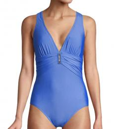 Blue Plunge-Neck One-Piece Swimsuit