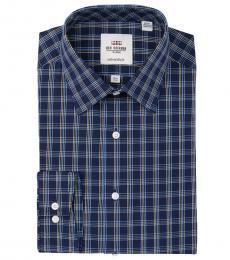 Ben Sherman Navy Blue Dobby Tailored Slim Fit Dress Shirt