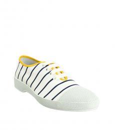 Prada White Blue Striped Sneakers