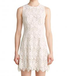 Vince Camuto White Fit & Flare Floral Lace Dress