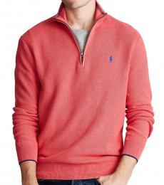 Ralph Lauren Rosette Heather Half-Zip Cotton Sweater