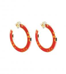 Tory Burch Sweet Tangerine T-Stripe Hoop Earrings