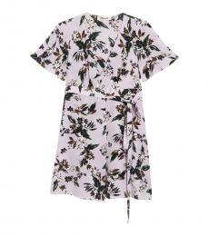 Diane Von Furstenberg Light Purple Kathy Floral Wrap Silk Dress