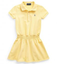 Ralph Lauren Little Girls Yellow Smocked Mesh Polo Dress