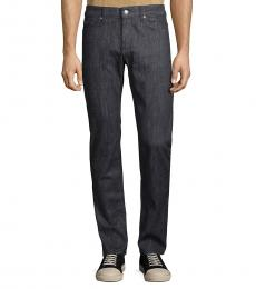 Navy Textured Slim-Fit Jeans