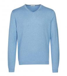 Calvin Klein Light Blue V-Neck Sweatshirt