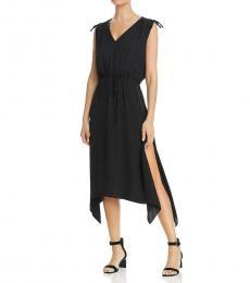 Rich Black Tied Shoulder Maxi Dress