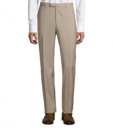 Hugo Boss Beige Wool Flat-Front Pants