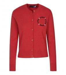 Love Moschino Red Logo Button Down Cardigan